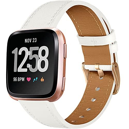CeMiKa Cinturino in Pelle Compatibile con Fitbit Versa Cinturino/Fitbit Versa 2 Cinturino, Cinturini di Ricambio in Classico Pelle Compatibile con Fitbit Versa/Versa 2/Versa Lite/SE, Bianco/Oro Rosa