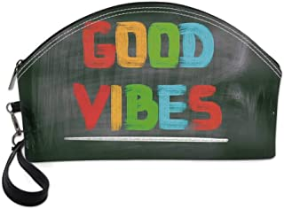 Good Vibes Small Portable Cosmetic Bag,Colorful Chalk Writing on Blackboard Image Positivity Optimism and Happiness For Women,Half Moon Shell Shape One size