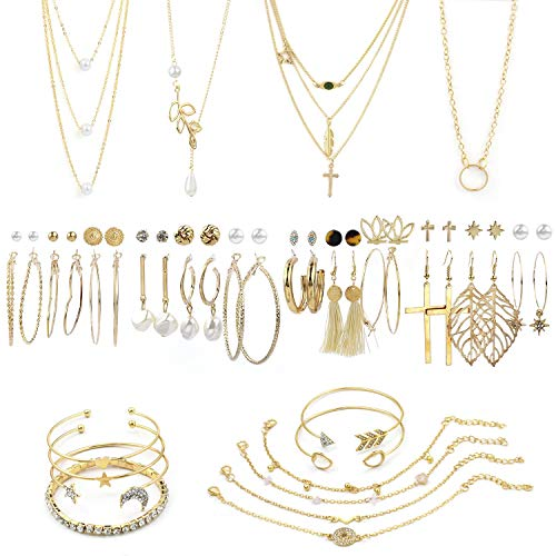 38 PCS Gold Jewelry Set with 4 P...