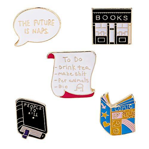 Springisso 5PCS Kreative Brosche Buchhandlung Buch Session Box-Zink-Legierung Dripping Kleidung Schmuck Cartoon-Abzeichen