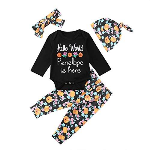 Halloween Days Baby Girls Boys Clothes Macacão com Letras para Recém-Nascidos Calça de Abóbora, Chapéus, Faixa de Cabeça Conjunto de Roupas