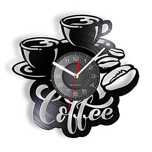 BBZZL Hora del café Disco LP de Vinilo Reloj de Pared Taza de café Latte Arte Reloj de Pared iluminación Retro Chic Cafe decoración de Pared Barista con LED