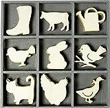 Carrito para Bolsa de Golf-US 10,5 x 10,5 cm Caja de Madera con Adornos de Gato de Piel de Vaca de Pollito sobre una, Natural