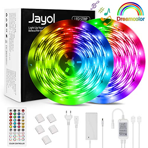 LED Strip Dreamcolor Led Streifen 10m Sync mit Musik LED Stripes Lichtband, Eingebauter Digital IC, Timerfunktion, Ein-Tasten-Dimmen, 2811 RGB Strip wasserdichte LED Lichterkette für Deko Party