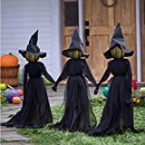 Qbngin Visiting Light-Up Witch with Stakes 1 Pcs, Halloween Decorations Outdoor, Light Up Holding Hands Screaming Witches Sound-Activated Sensor, for Family Outdoor Courtyard Garden Party
