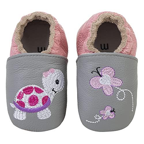 Baby Weicher Leder Lauflernschuhe Junge Mädchen Krabbelschuhe Kleinkind Babyhausschuhe Rutschfesten Wildledersohlen, 12-18 Monate, Tortoise Fs