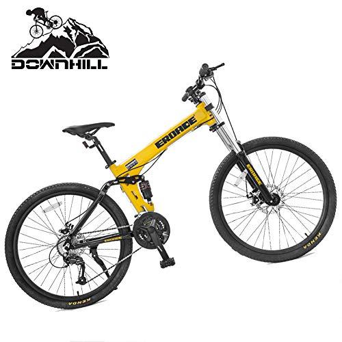 NENGGE Hard Tail Bicicleta Montaña 26 Pulgadas para Hombre Mujer, 27 Velocidades Adulto Doble Suspensión Bicicleta BTT, Portátil Doble Freno Disco Ciclismo, Cuadro Aleación de Aluminio,Amarillo