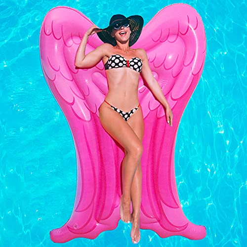 Inflatable Swim Pool Float, Angel Wings Red Swimming Party Pool, Water Raft Float Toys Large Blow Up Summer Beach Swimming Lounger Float Party Toys Lounge Raft for Adults Teens