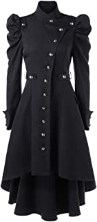Womens Vintage Steampunk Gothic Western Long Duster Jacket Coat Sunmoot