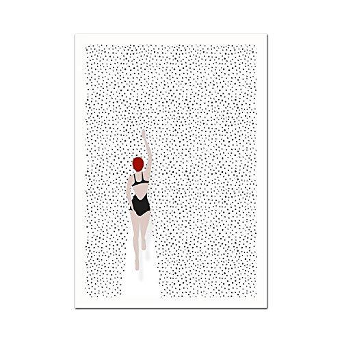 N / A Abstraktes nordisches Plakat Schwimmen Weinglas Leinwand Gemälde Wandkunst Bilder für Wohnzimmer Moderne dekorative Prins an der Wand 60x90CM NO Rahmen