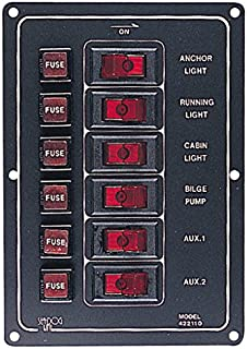 Sea-Dog 422110-1 Aluminum Vertical DC Switch Panel, 6 switches