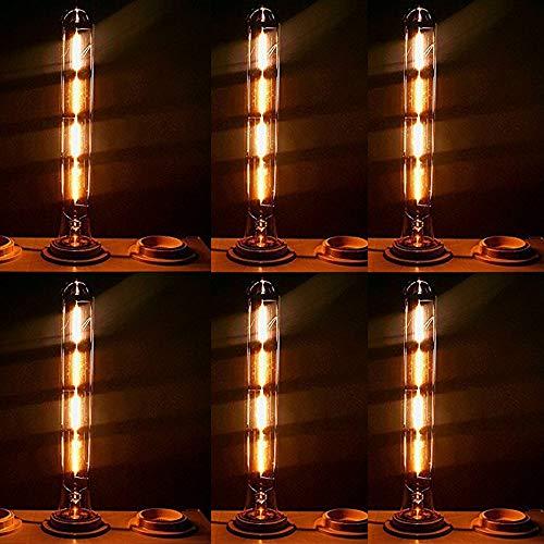 Edison Vintage Glühbirne, Retro Edison Filament Lampe Warmweiß E27 T300 40W Glühbirne Antike Glühlampe Licht Ideal für Nostalgie und Retro Beleuchtung - 6 Stück
