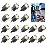 basku 16 piezas Luces de cubierta LED, Downlights LED impermeables Luz de jardín enterrada de alto brillo para escalones de jardín, escalera, patio, piso, decoración de zócalos de cocina