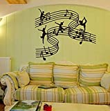 Stave Music Dance Girl Vinilo Tatuajes De Pared Pegatinas Decoración Para El Hogar Escuela De Música Diy Art Mural Wallpaper 60X25 Cm