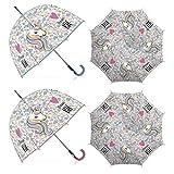 Paraguas Transparente Zaska Unicornio Apertura automática Diámetro 85cm Longitud 82cm Se enviará el Modelo de Forma aleatoria según la disponibilidad