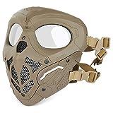 Huntvp táctica Máscara Skull Protectora Máscara Militar Paintball para Hombres Paintball Airsoft CS Cosplay Halloween, Tipo 2 Marrón