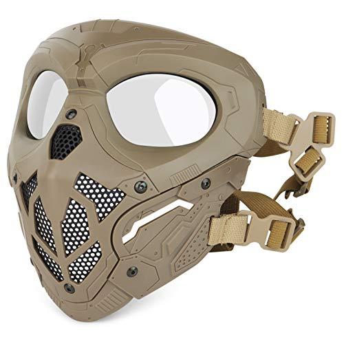 Huntvp Taktische Maske Schädelmaske Militär Schutzmaske Herren Gesichtsmaske Tactical Mask fürCS Cosplay HalloweenOutdoor, Typ-2 Braun