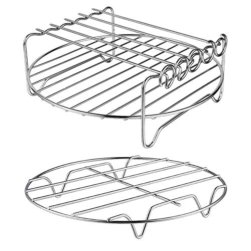 Air Fryer Accessories - Air Fryer Rack Set of 2, Double Layer Rack with Skewer