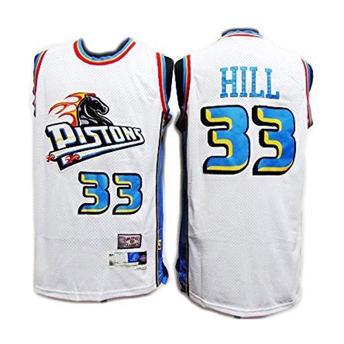 Uniformes de basket-ball pour hommes et femmes, Pistons Hill 33 brodé maillot de basket-ball en maille commémorative rétro maillot de basket-ball XXL blanc