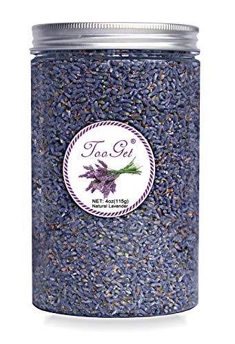 TooGet Culinaria Secas Capullos de Lavanda, 100% Primas Altas Cultivan Flores de La Lavanda, Azul Lavanda Ultra Grado Superior Con Botella de Plástico PET - 115g