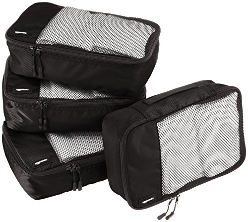 Amazon Basics Packing Cubes - Small (4-Piece Set), Black