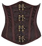 R-Dessous Burlesque Unter Brust Corsage Taillen Schnür Korsett Mieder Bustier Top Gothic Steampunk, Braun, Herstellergroesse S (34-36)