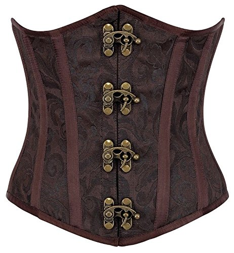 R-Dessous Burlesque Unter Brust Corsage Taillen Schnür Korsett Mieder Bustier Top Gothic Steampunk, Braun, Herstellergroesse XXL (44)