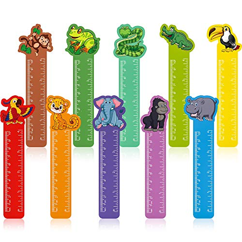 50 Pieces Cute Animals Bookmarks Ruler for Kids Jungle Animal Day Teacher Prizes Book Markers Students Jungle Animal Party Favor, 10 Styles