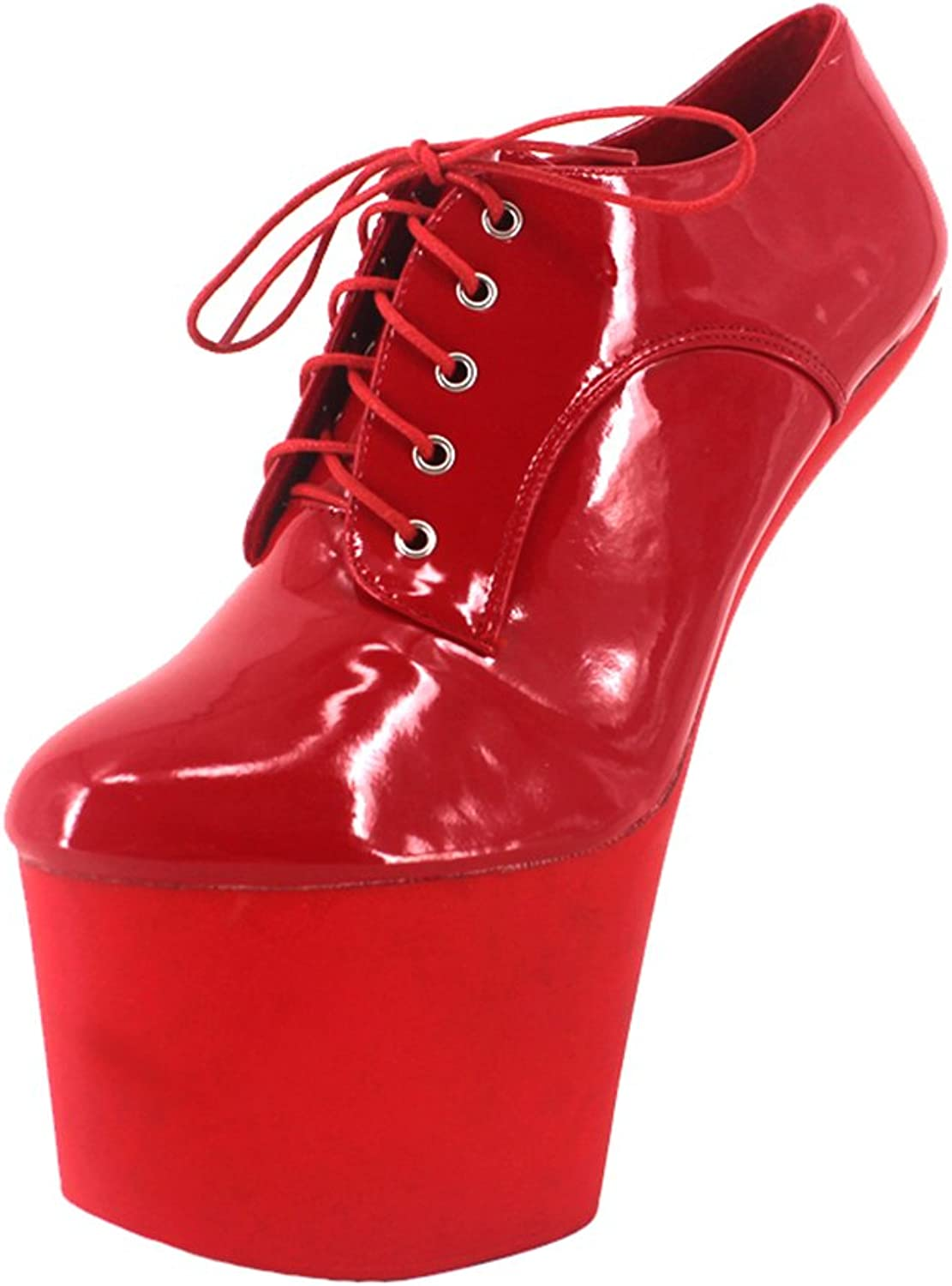 Wonderheel 8  Heelless Ankle Boots red Shiny Sexy Fetish Platform lace up Boots