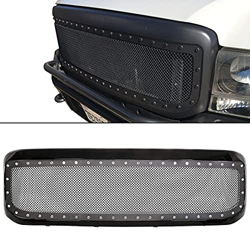 ECOTRIC New Front Bumper Grille Grill Rivet Stud Mesh Style Compatible With 1999-2004 Ford F250 F350 F450 F550 Stainless Steel with Matte Black Plastic Shell