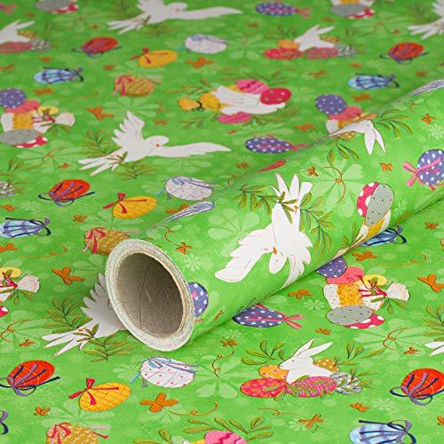 Geschenkpapier Ostern, Kraftpapier, bunt, glatt, 60 g/m², Geburtstagspapier, Osterpapier - 1 Rolle 0,7 x 10 m