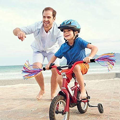 kioout Fahrradzubehör, 1 Paar Regenbogen-Roller-Lenker-Luftschlangen für Kinder Bunte Griffe Quastenbänder für Fahrradzubehör