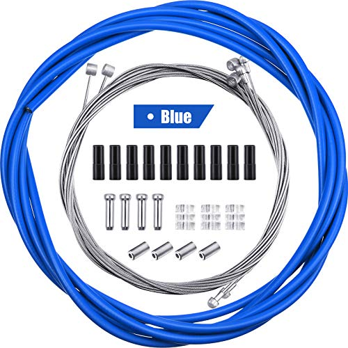 4 Pieces Universal Bike Inner Brake Cable Housing Kit Bicycle Brake Cable Replacement for Mountain and Road Bike (Blue)