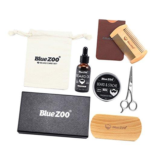 Sharplace 7 En 1 Kit de Soins de Barbe Professionnel, Inclus Peigne à Barbe en Bois, Brosse à Barbe, Huile à Barbe, Ciseaux, et Sac en Coton, Moustache Toilettage Sac