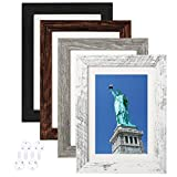 BAIJIALI 5x7 Picture Frame Distressed Farmhouse Wood Pattern Set of 4 with Tempered Glass,Display Pictures 4x6 with Mat or 5x7 Without Mat, Horizontal and Vertical Formats for Wall and Table Mounting