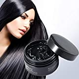 Temporary Black Hair Wax , 4.23oz Instant Black Hair Dye Hairstyle Mud Cream, Natural Hair Coloring Wax Material Disposable Hair Styling Clays Ash for Cosplay,Party,Masquerade, Halloween.etc (Black)