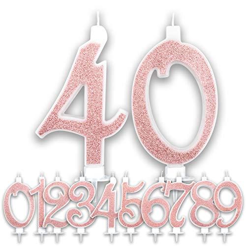 Candeline Grandi Compleanno Rosa Gold Glitter | Numeri brillanti per Torta Festa Birthday Ragazza | Decorazioni Candele Topper Auguri Anniversario Torta | Altezza 13 CM (Numero 40)