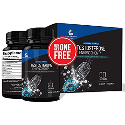 Pharmacist Recommended 2 for 1 Promo(180ct) Testosterone Booster Male Enhancement by Research Labs. Increase Lean Muscle Energy & Strength w/Saw Palmetto, Tribulus, Horny Goat Weed, Zinc & More!