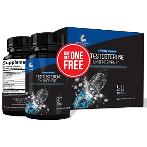 Pharmacist Recommended 2 for 1 Promo(180ct) Testosterone Booster Male Enhancement by Research Labs. Increase Lean Muscle Energy & Strength w/ Saw Palmetto, Tribulus, Horny Goat Weed, Zinc & More!