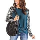 Primavera Y Verano Mujer Casual Suelta Cuello Redondo Estampado De Leopardo Costura De Manga Larga Dobladillo Superior Camiseta Retorcida Mujer
