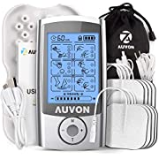 """AUVON Rechargeable TENS Machine Muscle Stimulator for Pain Relief, TENS Unit with 16 Modes, 8pcs 2""""x2"""" TENS Pads Replacement"""