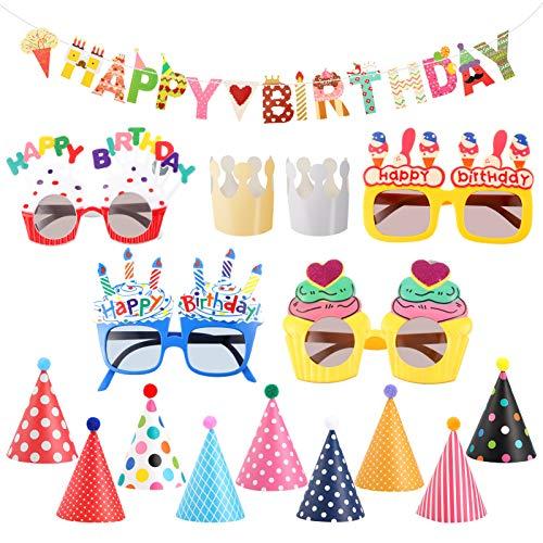 Firtink 16 Stück Geburtstagsfeier Hüte Neuheit Brillen und Banner Dekorationen, Geburtstagsfeier Hüte Schöne Party Kegel Hüte für Kinder und Erwachsene