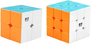 D-FantiX Qiyi Speed Cube Bundle 2x2 3x3 Magic Cube Set Qidi s 2x2 Warrior W 3x3 Stickerless Puzzle Toy