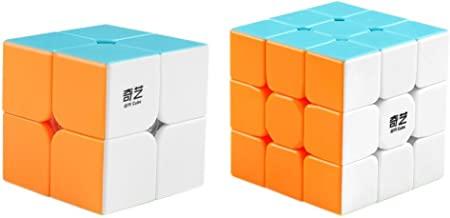 D-FantiX Qiyi Speed Cube Bundle 2x2 3x3 Magic Cube Set Qidi s 2x2 Warrior W 3x3 Stickerless Puzzle Toy