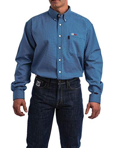Cinch Men's WRX Fr Royal Geo Print Lightweight Long Sleeve Work Shirt Royal Blue X-Large