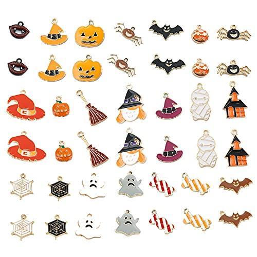 Humidifier 42 Piezas Halloween Enamel Charm para Las Mujeres Pendientes De Calabaza Ligero Lightweight Spiders Spiders Bruja Drop Pendientes Conjunto De Caramelo