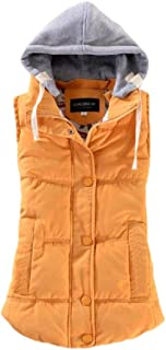Women's Slim Sleeveless Quilted Waistcoat Hooded Winter Puffer Vest Coats