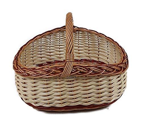 Einkaufskorb/Autokorb aus Weide Braun-Weiß oval 43x32x31 cm Weidenkorb Picknickkorb Geflochten