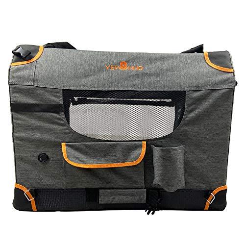 YEP HHO Hunderucksack, Atmungsaktive und Faltbare Haustier Hunde Rucksack, Tragbar Transportrucksack Transporttasche für Haustiere Reisen, maximale Last 50kg (70 * 52 * 52cm)-Grau