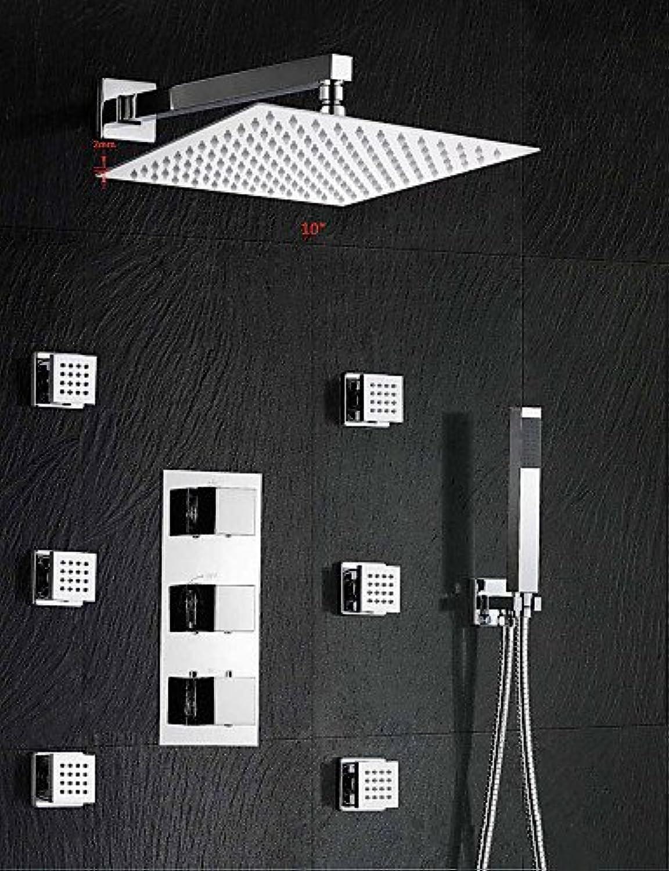 HOSEE Duscharmaturen - Zeitgenssisch - Wasserfall   Thermostatische   Regendusche   Seitendüse   Handdusche inklusive - Messing ( Chrom )